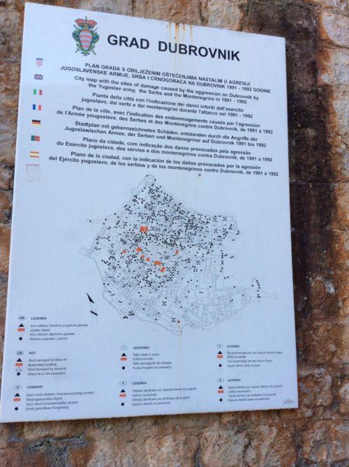 破壊された場所の地図