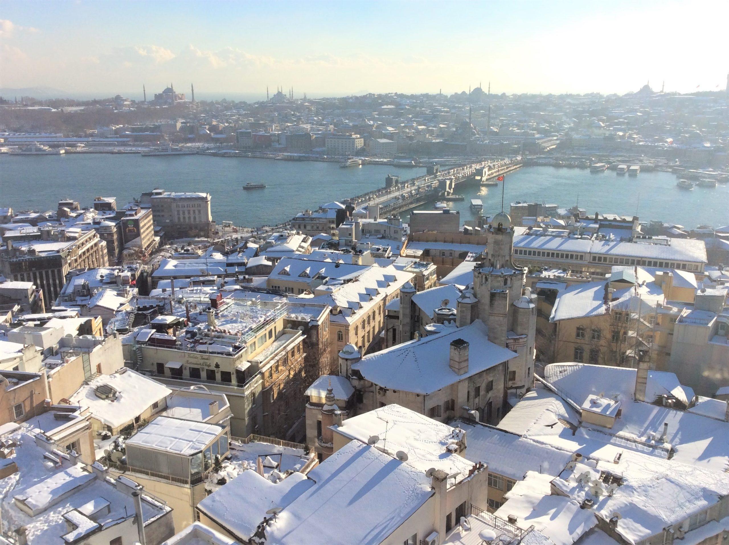 雪のイスタンブールガラタ